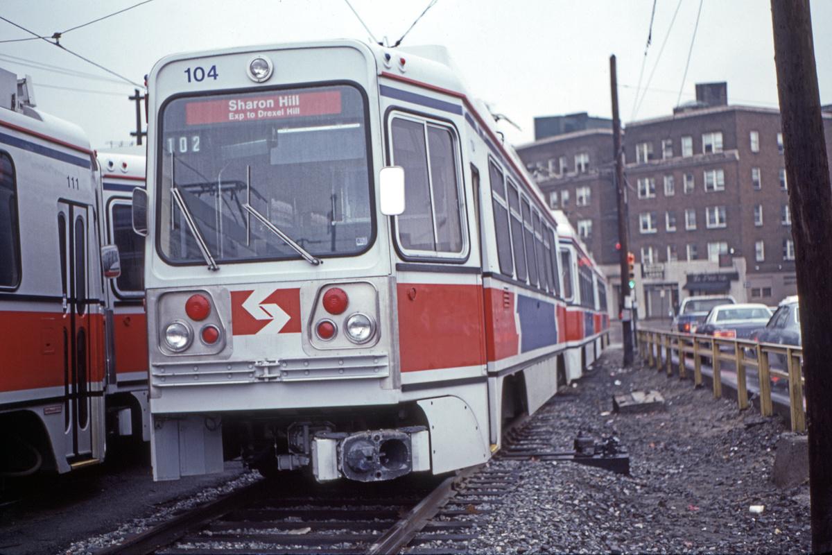 (419k, 1200x800)<br><b>Country:</b> United States<br><b>City:</b> Philadelphia, PA<br><b>System:</b> SEPTA (or Predecessor)<br><b>Line:</b> Rt. 101-Media/102-Sharon Hill<br><b>Location:</b> 69th Street<br><b>Car:</b> SEPTA K Double-ended (Kawasaki, 1981) 104 <br><b>Collection of:</b> David Pirmann<br><b>Date:</b> 1/15/1983<br><b>Viewed (this week/total):</b> 1 / 63