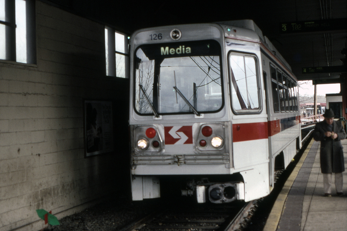 (340k, 1200x800)<br><b>Country:</b> United States<br><b>City:</b> Philadelphia, PA<br><b>System:</b> SEPTA (or Predecessor)<br><b>Line:</b> Rt. 101-Media/102-Sharon Hill<br><b>Location:</b> 69th Street<br><b>Car:</b> SEPTA K Double-ended (Kawasaki, 1981) 126 <br><b>Collection of:</b> David Pirmann<br><b>Date:</b> 1/13/1992<br><b>Viewed (this week/total):</b> 4 / 58