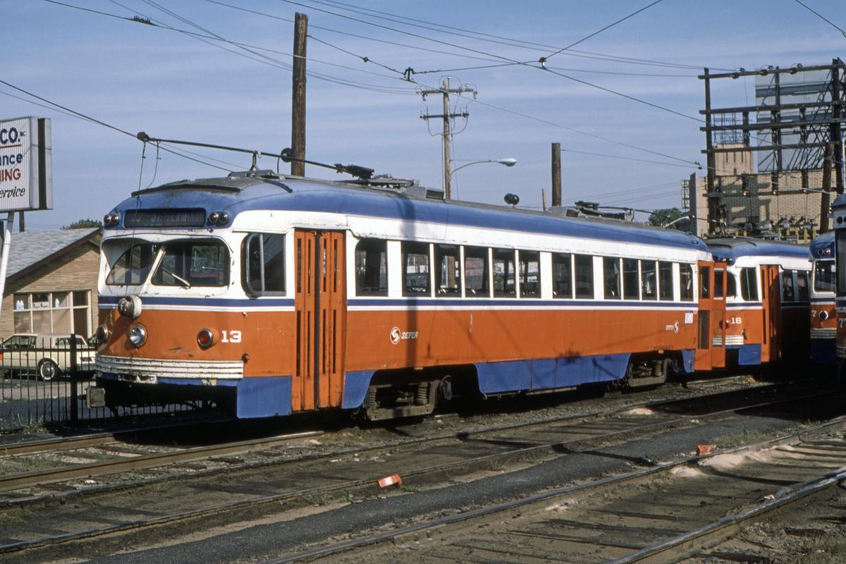 (490k, 1200x800)<br><b>Country:</b> United States<br><b>City:</b> Philadelphia, PA<br><b>System:</b> SEPTA (or Predecessor)<br><b>Line:</b> Rt. 101-Media/102-Sharon Hill<br><b>Location:</b> 69th Street<br><b>Car:</b> PSTC Streamliner (St. Louis Car Co., 1949) 13 <br><b>Collection of:</b> David Pirmann<br><b>Date:</b> 10/1982<br><b>Viewed (this week/total):</b> 0 / 53