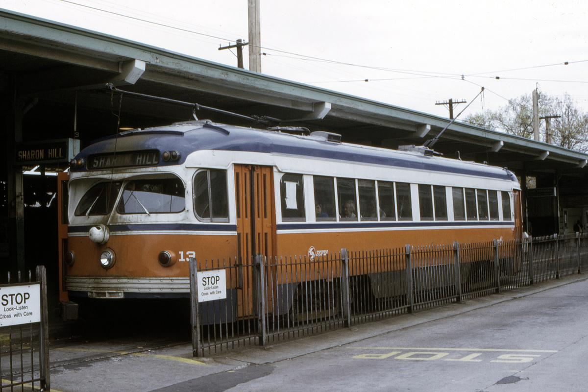 (416k, 1200x800)<br><b>Country:</b> United States<br><b>City:</b> Philadelphia, PA<br><b>System:</b> SEPTA (or Predecessor)<br><b>Line:</b> Rt. 101-Media/102-Sharon Hill<br><b>Location:</b> 69th Street<br><b>Car:</b> PSTC Streamliner (St. Louis Car Co., 1949) 13 <br><b>Photo by:</b> Gerald H. Landau<br><b>Collection of:</b> David Pirmann<br><b>Viewed (this week/total):</b> 0 / 53