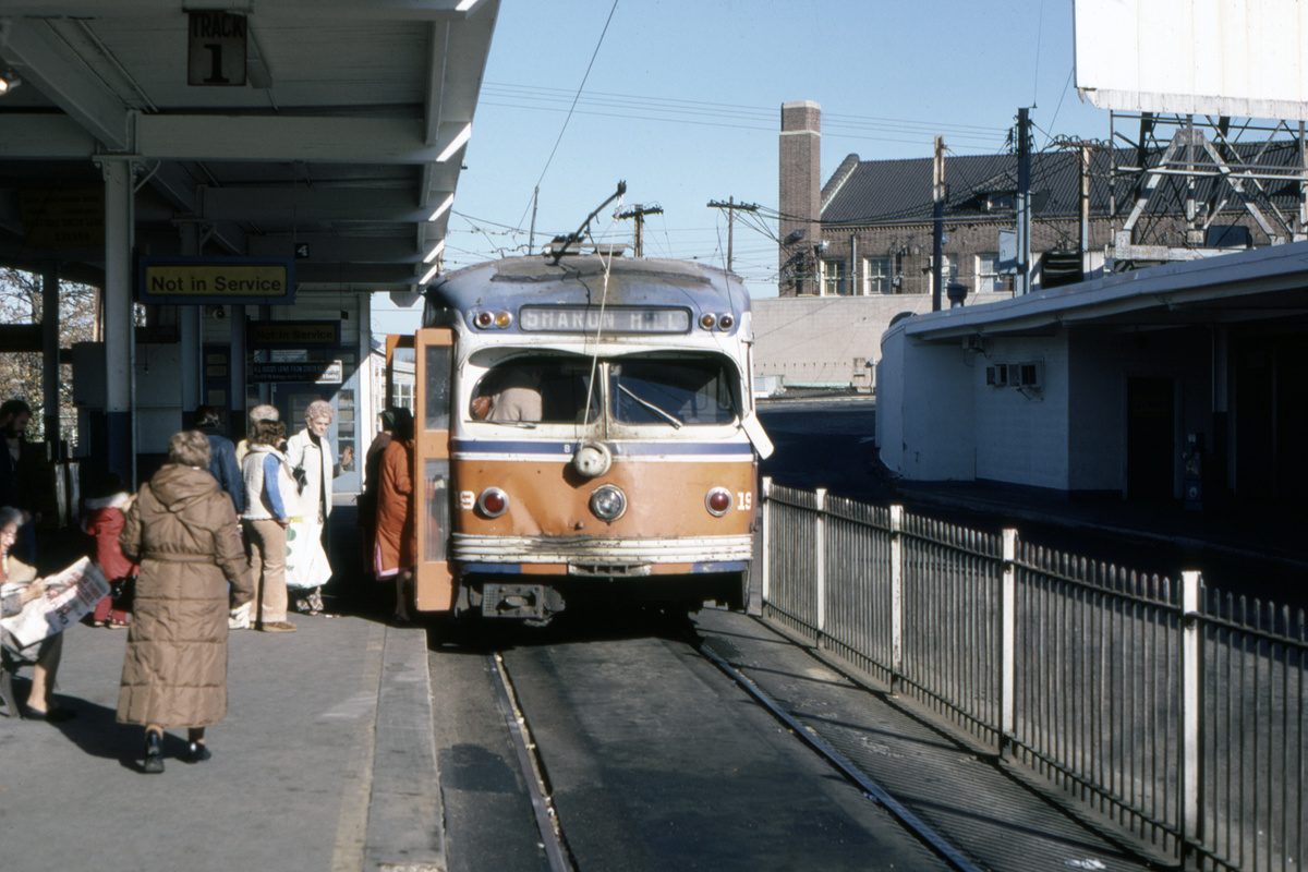 (415k, 1200x800)<br><b>Country:</b> United States<br><b>City:</b> Philadelphia, PA<br><b>System:</b> SEPTA (or Predecessor)<br><b>Line:</b> Rt. 101-Media/102-Sharon Hill<br><b>Location:</b> 69th Street<br><b>Car:</b> PSTC Streamliner (St. Louis Car Co., 1949) 19 <br><b>Collection of:</b> David Pirmann<br><b>Date:</b> 11/1980<br><b>Viewed (this week/total):</b> 0 / 63