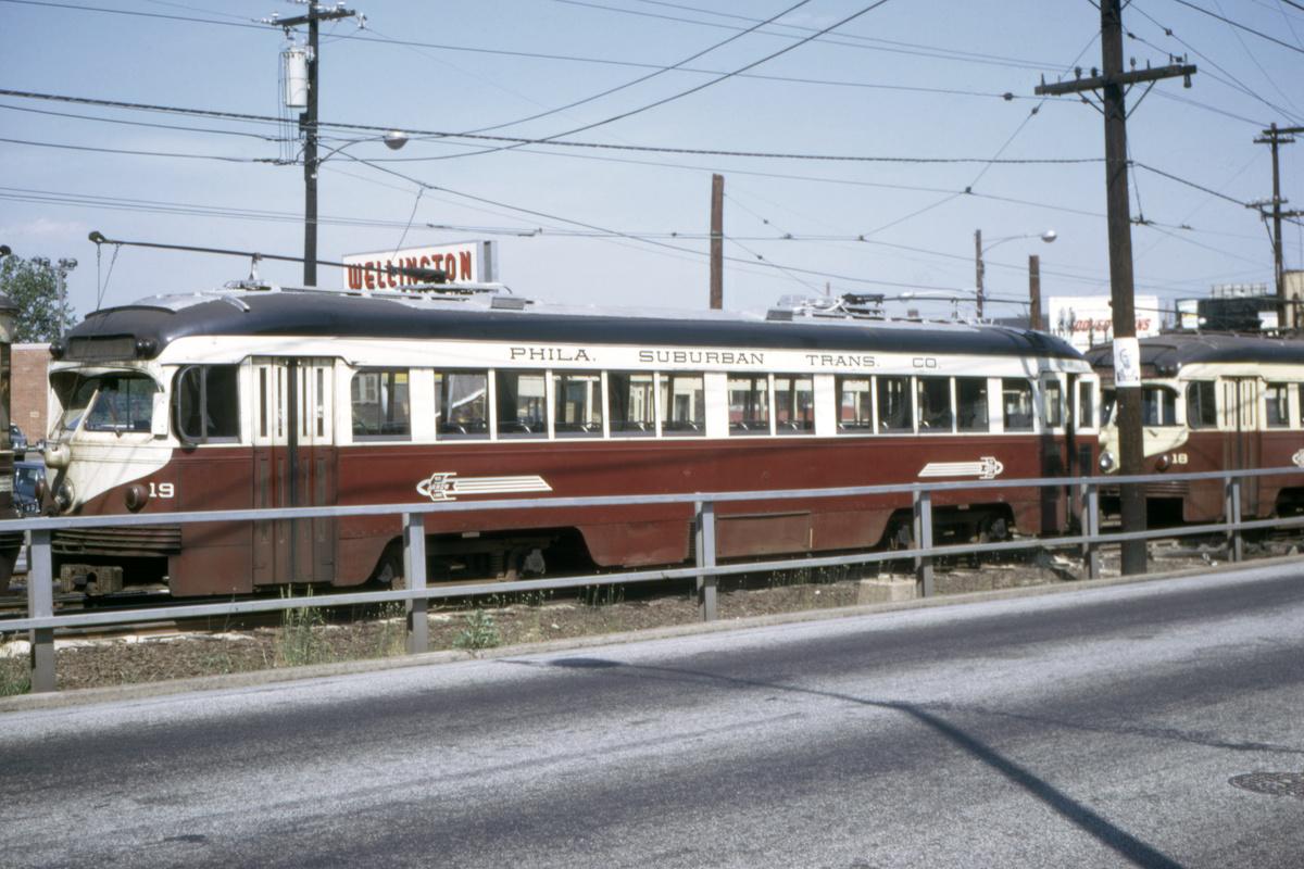 (425k, 1200x800)<br><b>Country:</b> United States<br><b>City:</b> Philadelphia, PA<br><b>System:</b> SEPTA (or Predecessor)<br><b>Line:</b> Rt. 101-Media/102-Sharon Hill<br><b>Location:</b> 69th Street<br><b>Car:</b> PSTC Streamliner (St. Louis Car Co., 1949) 19 <br><b>Collection of:</b> David Pirmann<br><b>Date:</b> 7/1969<br><b>Viewed (this week/total):</b> 3 / 49