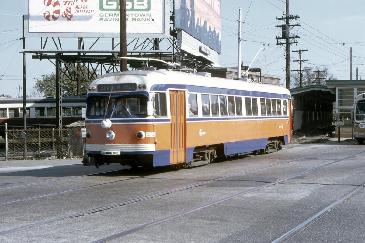 (503k, 1200x800)<br><b>Country:</b> United States<br><b>City:</b> Philadelphia, PA<br><b>System:</b> SEPTA (or Predecessor)<br><b>Line:</b> Rt. 101-Media/102-Sharon Hill<br><b>Location:</b> 69th Street<br><b>Car:</b> PSTC Streamliner (St. Louis Car Co., 1949) 22 <br><b>Collection of:</b> David Pirmann<br><b>Date:</b> 10/21/1973<br><b>Viewed (this week/total):</b> 0 / 48