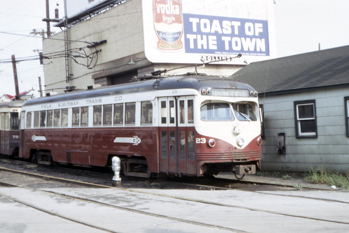 (369k, 1200x800)<br><b>Country:</b> United States<br><b>City:</b> Philadelphia, PA<br><b>System:</b> SEPTA (or Predecessor)<br><b>Line:</b> Rt. 101-Media/102-Sharon Hill<br><b>Location:</b> 69th Street<br><b>Car:</b> PSTC Streamliner (St. Louis Car Co., 1949) 23 <br><b>Collection of:</b> David Pirmann<br><b>Date:</b> 9/1967<br><b>Viewed (this week/total):</b> 0 / 45