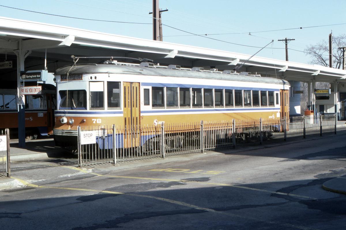 (427k, 1200x800)<br><b>Country:</b> United States<br><b>City:</b> Philadelphia, PA<br><b>System:</b> SEPTA (or Predecessor)<br><b>Line:</b> Rt. 101-Media/102-Sharon Hill<br><b>Location:</b> 69th Street<br><b>Car:</b> PSTC Master Unit Suburban (J.G. Brill, 1932) 78 <br><b>Collection of:</b> David Pirmann<br><b>Date:</b> 12/1978<br><b>Viewed (this week/total):</b> 0 / 51