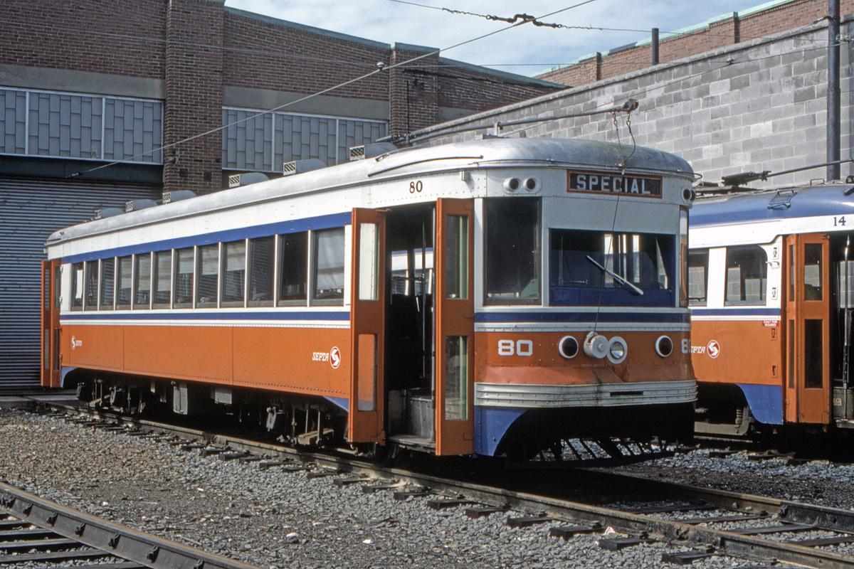 (591k, 1200x800)<br><b>Country:</b> United States<br><b>City:</b> Philadelphia, PA<br><b>System:</b> SEPTA (or Predecessor)<br><b>Line:</b> Rt. 101-Media/102-Sharon Hill<br><b>Location:</b> 69th Street<br><b>Car:</b> PSTC Master Unit Suburban (J.G. Brill, 1932) 80 <br><b>Photo by:</b> Gerald H. Landau<br><b>Collection of:</b> David Pirmann<br><b>Viewed (this week/total):</b> 0 / 49