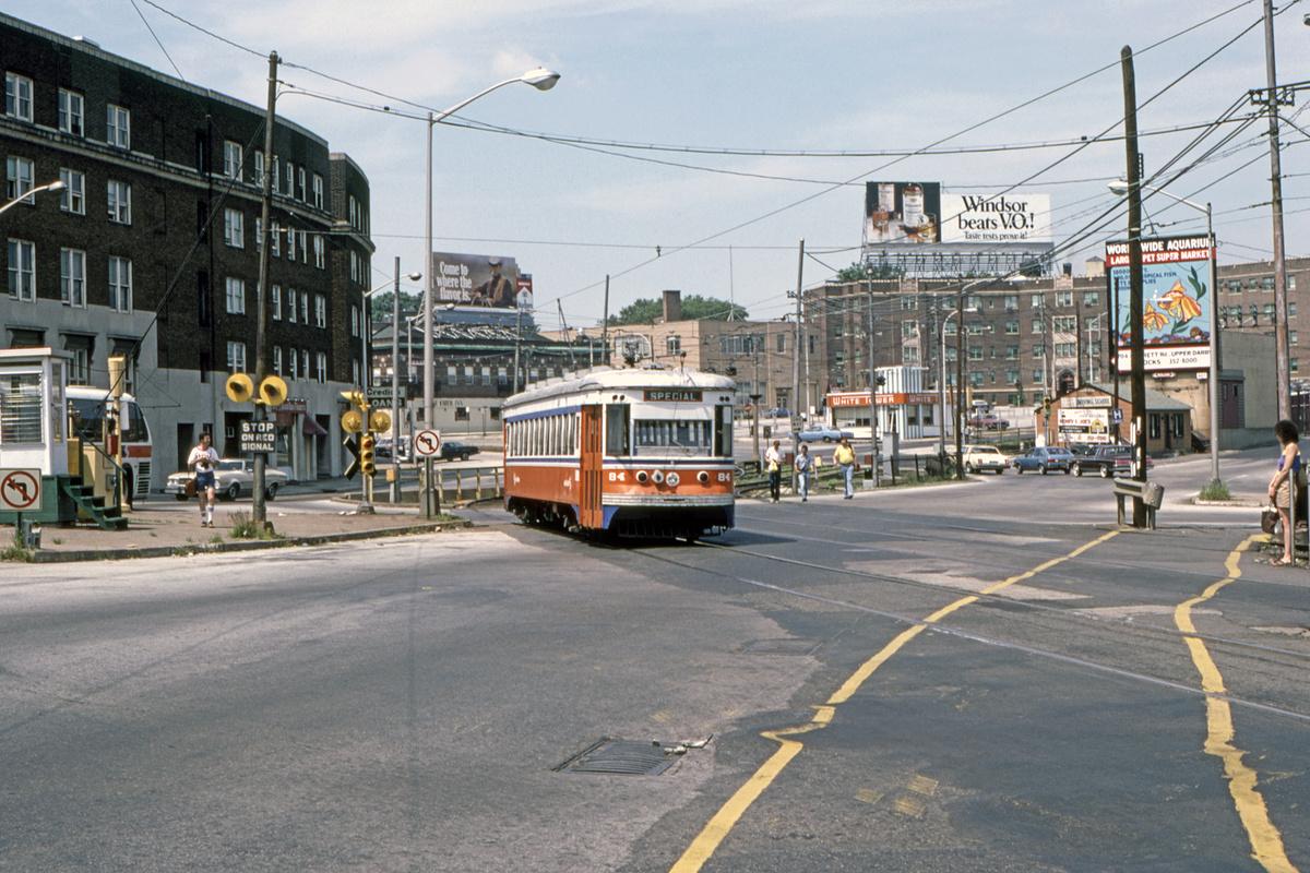 (526k, 1200x800)<br><b>Country:</b> United States<br><b>City:</b> Philadelphia, PA<br><b>System:</b> SEPTA (or Predecessor)<br><b>Line:</b> Rt. 101-Media/102-Sharon Hill<br><b>Location:</b> 69th Street<br><b>Car:</b> PSTC Master Unit Suburban (J.G. Brill, 1932) 84 <br><b>Collection of:</b> David Pirmann<br><b>Date:</b> 10/1982<br><b>Viewed (this week/total):</b> 0 / 49