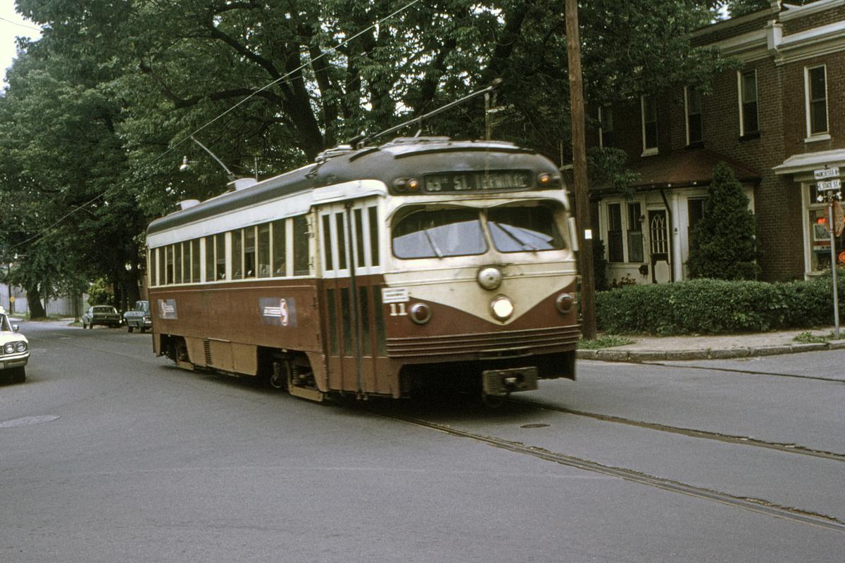 (550k, 1200x800)<br><b>Country:</b> United States<br><b>City:</b> Philadelphia, PA<br><b>System:</b> SEPTA (or Predecessor)<br><b>Line:</b> Rt. 101-Media<br><b>Location:</b> Manchester Avenue/State Street<br><b>Car:</b> PSTC Streamliner (St. Louis Car Co., 1949) 11 <br><b>Collection of:</b> David Pirmann<br><b>Date:</b> 6/1976<br><b>Viewed (this week/total):</b> 0 / 54