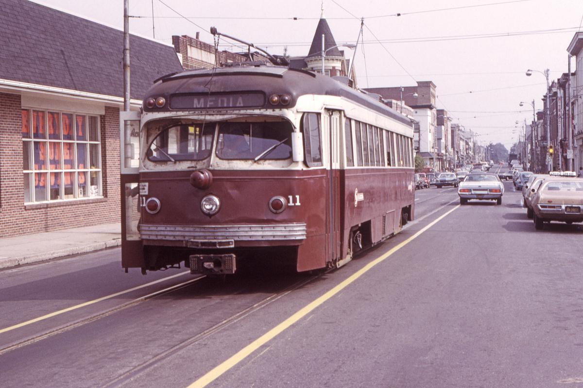 (466k, 1200x800)<br><b>Country:</b> United States<br><b>City:</b> Philadelphia, PA<br><b>System:</b> SEPTA (or Predecessor)<br><b>Line:</b> Rt. 101-Media<br><b>Location:</b> Orange Street/State Street<br><b>Car:</b> PSTC Streamliner (St. Louis Car Co., 1949) 11 <br><b>Collection of:</b> David Pirmann<br><b>Date:</b> 9/28/1973<br><b>Viewed (this week/total):</b> 0 / 45