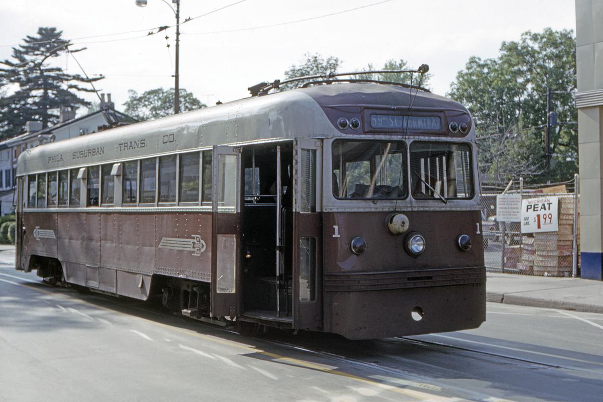 (440k, 1200x800)<br><b>Country:</b> United States<br><b>City:</b> Philadelphia, PA<br><b>System:</b> SEPTA (or Predecessor)<br><b>Line:</b> Rt. 101-Media<br><b>Location:</b> Orange Street/State Street<br><b>Car:</b> PSTC Brilliner (J.G. Brill, 1941) 1 <br><b>Collection of:</b> David Pirmann<br><b>Date:</b> 6/1964<br><b>Viewed (this week/total):</b> 2 / 46