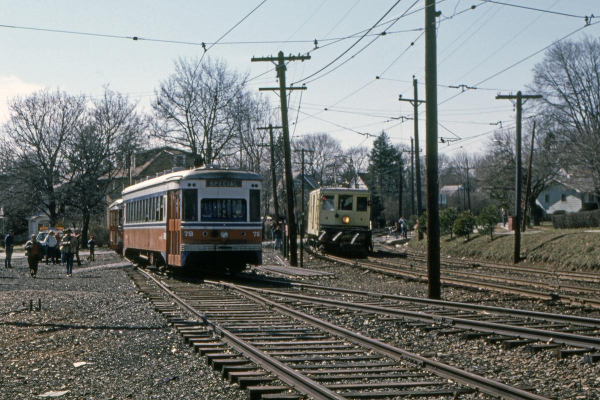 (548k, 1200x800)<br><b>Country:</b> United States<br><b>City:</b> Philadelphia, PA<br><b>System:</b> SEPTA (or Predecessor)<br><b>Line:</b> Rt. 101-Media/102-Sharon Hill<br><b>Location:</b> Drexel Hill Junction<br><b>Car:</b> PSTC Master Unit Suburban (J.G. Brill, 1932) 78 <br><b>Collection of:</b> David Pirmann<br><b>Date:</b> 7/1982<br><b>Viewed (this week/total):</b> 0 / 49