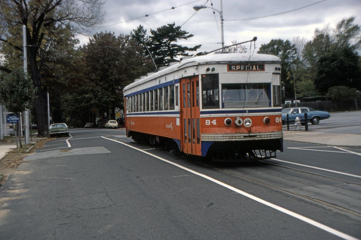 (482k, 1200x800)<br><b>Country:</b> United States<br><b>City:</b> Philadelphia, PA<br><b>System:</b> SEPTA (or Predecessor)<br><b>Line:</b> Rt. 101-Media<br><b>Location:</b> Orange Street/State Street<br><b>Car:</b> PSTC Master Unit Suburban (J.G. Brill, 1932) 84 <br><b>Collection of:</b> David Pirmann<br><b>Date:</b> 10/26/1980<br><b>Viewed (this week/total):</b> 3 / 53