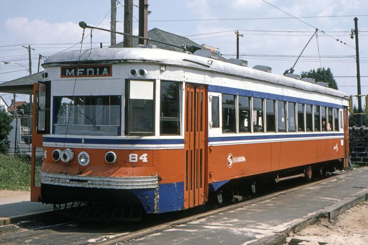 (498k, 1200x800)<br><b>Country:</b> United States<br><b>City:</b> Philadelphia, PA<br><b>System:</b> SEPTA (or Predecessor)<br><b>Line:</b> Rt. 102-Sharon Hill<br><b>Location:</b> Sharon Hill/Chester Pike<br><b>Car:</b> PSTC Master Unit Suburban (J.G. Brill, 1932) 84 <br><b>Collection of:</b> David Pirmann<br><b>Date:</b> 10/1982<br><b>Viewed (this week/total):</b> 0 / 41