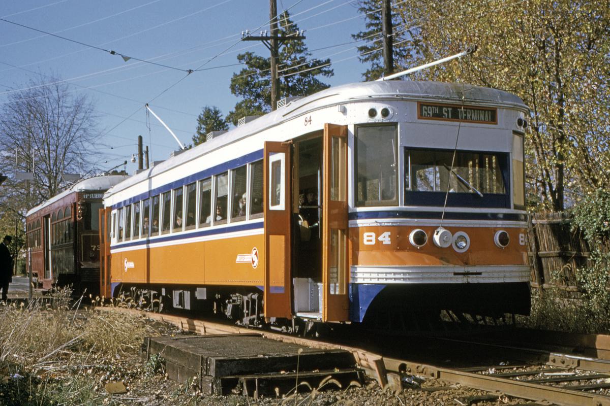 (639k, 1200x800)<br><b>Country:</b> United States<br><b>City:</b> Philadelphia, PA<br><b>System:</b> SEPTA (or Predecessor)<br><b>Line:</b> Rt. 101-Media/102-Sharon Hill<br><b>Location:</b> Drexel Hill Junction<br><b>Car:</b> PSTC Master Unit Suburban (J.G. Brill, 1932) 84 <br><b>Collection of:</b> David Pirmann<br><b>Date:</b> 11/1973<br><b>Viewed (this week/total):</b> 0 / 41