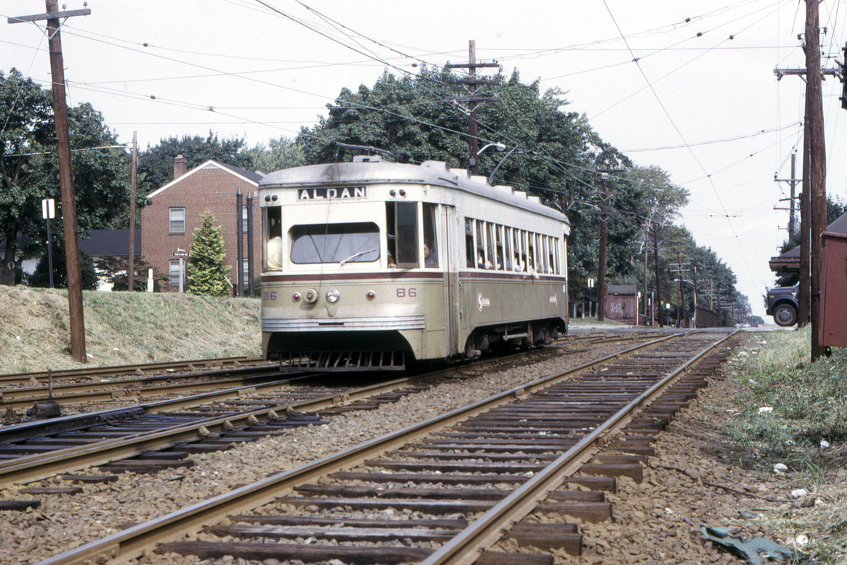 (603k, 1200x800)<br><b>Country:</b> United States<br><b>City:</b> Philadelphia, PA<br><b>System:</b> SEPTA (or Predecessor)<br><b>Line:</b> Rt. 101-Media/102-Sharon Hill<br><b>Location:</b> Drexel Hill Junction<br><b>Car:</b> PSTC Master Unit Suburban (J.G. Brill, 1932) 86 <br><b>Collection of:</b> David Pirmann<br><b>Date:</b> 9/28/1973<br><b>Viewed (this week/total):</b> 2 / 44
