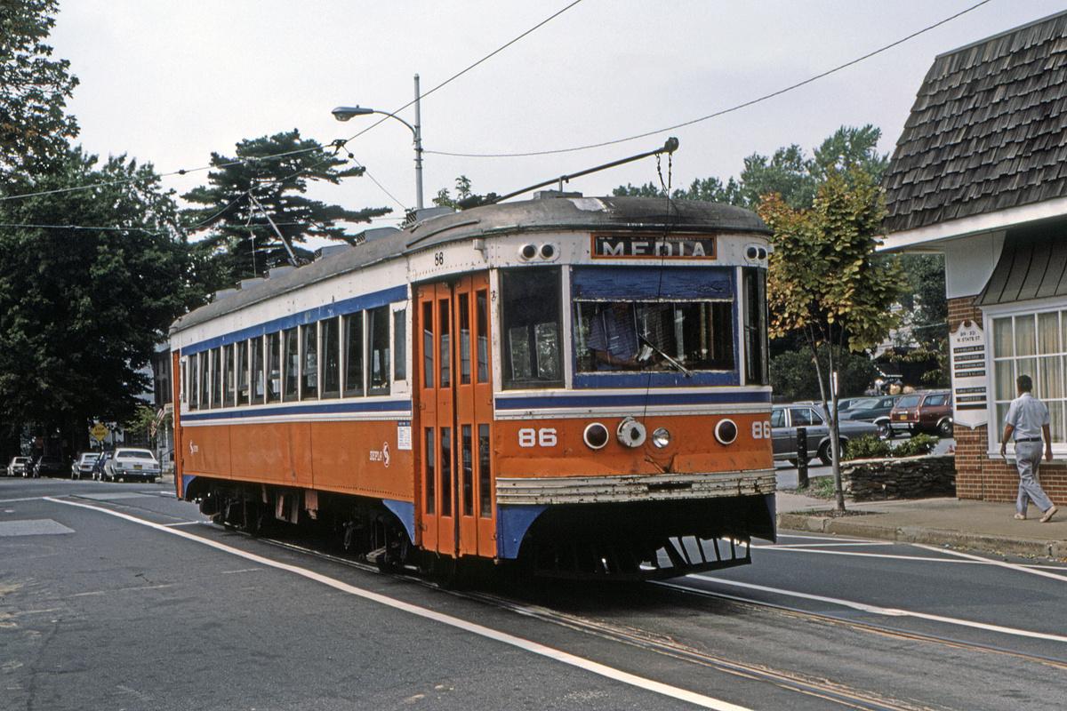 (575k, 1200x800)<br><b>Country:</b> United States<br><b>City:</b> Philadelphia, PA<br><b>System:</b> SEPTA (or Predecessor)<br><b>Line:</b> Rt. 101-Media<br><b>Location:</b> Orange Street/State Street<br><b>Car:</b> PSTC Master Unit Suburban (J.G. Brill, 1932) 86 <br><b>Collection of:</b> David Pirmann<br><b>Date:</b> 10/1982<br><b>Viewed (this week/total):</b> 0 / 45