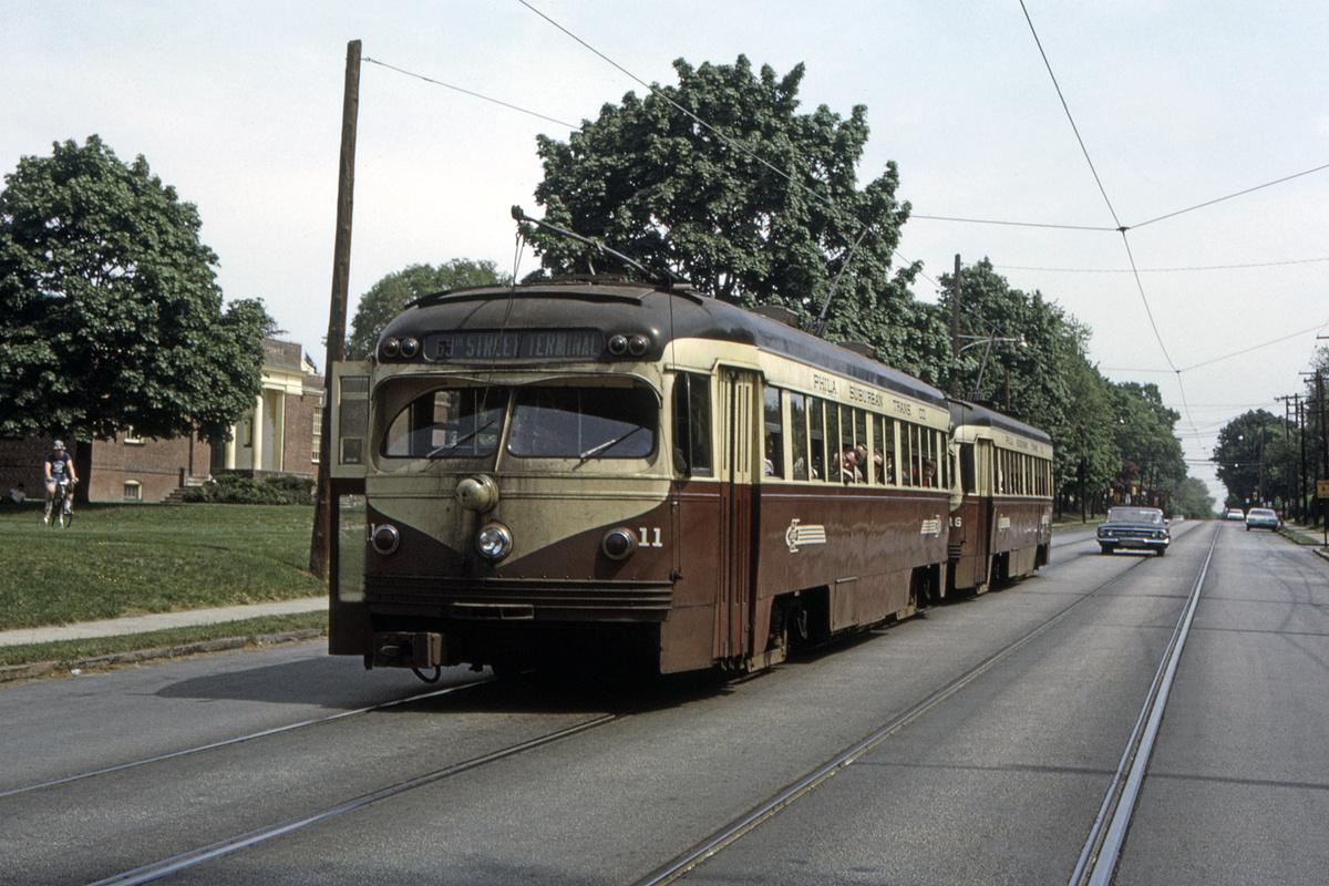(509k, 1200x800)<br><b>Country:</b> United States<br><b>City:</b> Philadelphia, PA<br><b>System:</b> SEPTA (or Predecessor)<br><b>Line:</b> Rt. 102-Sharon Hill<br><b>Location:</b> Woodlawn Avenue<br><b>Car:</b> PSTC Streamliner (St. Louis Car Co., 1949) 11 <br><b>Collection of:</b> David Pirmann<br><b>Date:</b> 5/1955<br><b>Viewed (this week/total):</b> 0 / 54