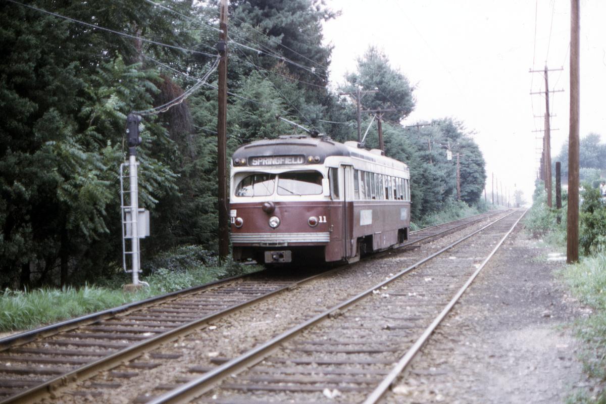 (478k, 1200x800)<br><b>Country:</b> United States<br><b>City:</b> Philadelphia, PA<br><b>System:</b> SEPTA (or Predecessor)<br><b>Line:</b> Rt. 101-Media<br><b>Location:</b> Anderson Avenue<br><b>Car:</b> PSTC Streamliner (St. Louis Car Co., 1949) 11 <br><b>Collection of:</b> David Pirmann<br><b>Date:</b> 8/1974<br><b>Viewed (this week/total):</b> 2 / 56