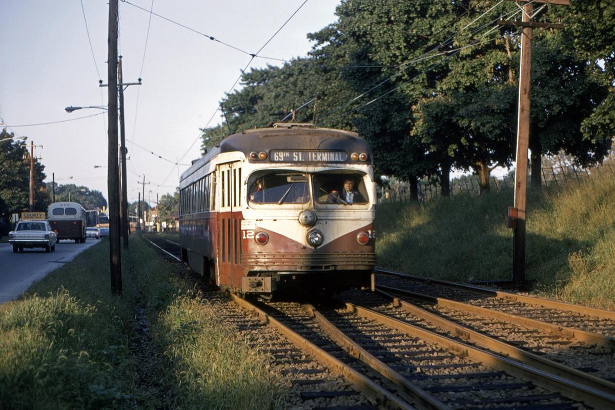 (540k, 1200x800)<br><b>Country:</b> United States<br><b>City:</b> Philadelphia, PA<br><b>System:</b> SEPTA (or Predecessor)<br><b>Line:</b> Rt. 101-Media/102-Sharon Hill<br><b>Location:</b> N. of Lansdowne Ave.<br><b>Car:</b> PSTC Streamliner (St. Louis Car Co., 1949) 12 <br><b>Collection of:</b> David Pirmann<br><b>Date:</b> 10/1971<br><b>Viewed (this week/total):</b> 2 / 46