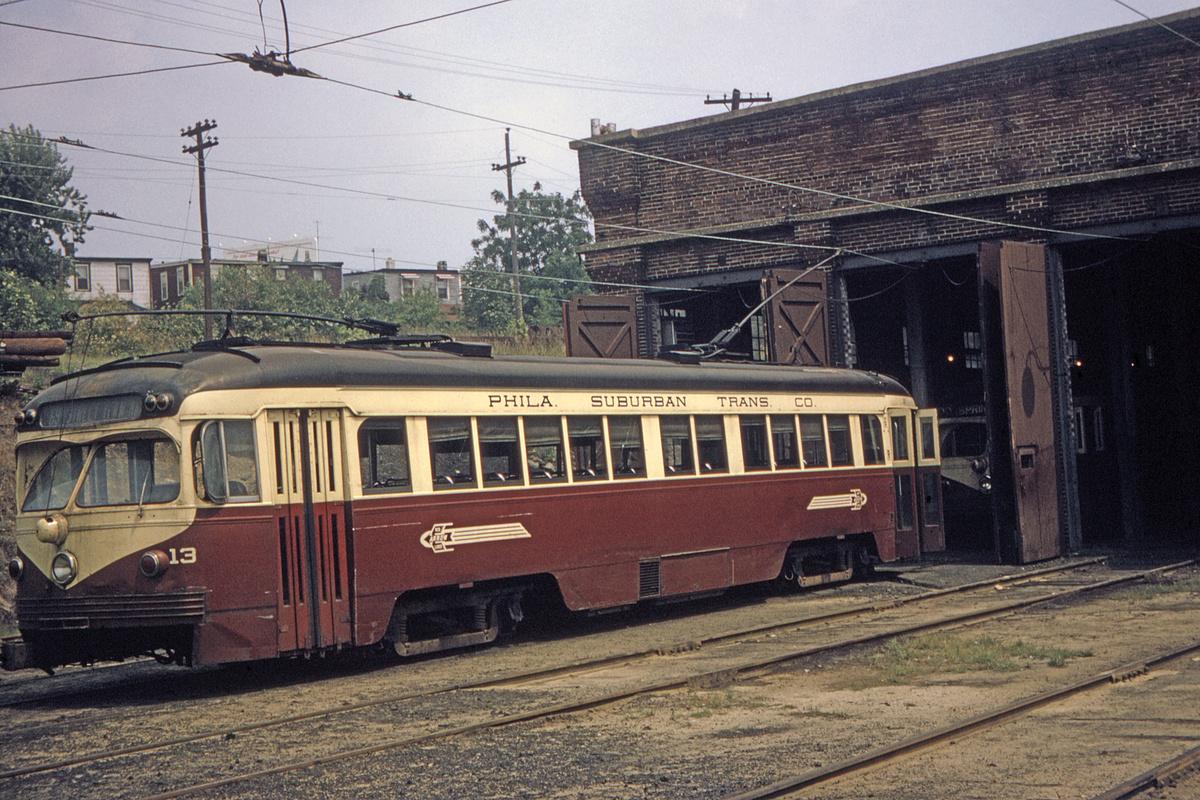 (607k, 1200x800)<br><b>Country:</b> United States<br><b>City:</b> Philadelphia, PA<br><b>System:</b> SEPTA (or Predecessor)<br><b>Line:</b> Rt. 103-Ardmore/Rt. 104-West Chester<br><b>Location:</b> Llanerch Depot (103/104)<br><b>Car:</b> PSTC Streamliner (St. Louis Car Co., 1949) 13 <br><b>Collection of:</b> David Pirmann<br><b>Viewed (this week/total):</b> 3 / 54