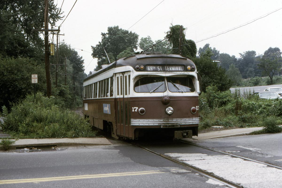 (495k, 1200x800)<br><b>Country:</b> United States<br><b>City:</b> Philadelphia, PA<br><b>System:</b> SEPTA (or Predecessor)<br><b>Line:</b> Rt. 101-Media<br><b>Location:</b> Woodland Avenue<br><b>Car:</b> PSTC Streamliner (St. Louis Car Co., 1949) 17 <br><b>Collection of:</b> David Pirmann<br><b>Date:</b> 8/1974<br><b>Viewed (this week/total):</b> 0 / 54