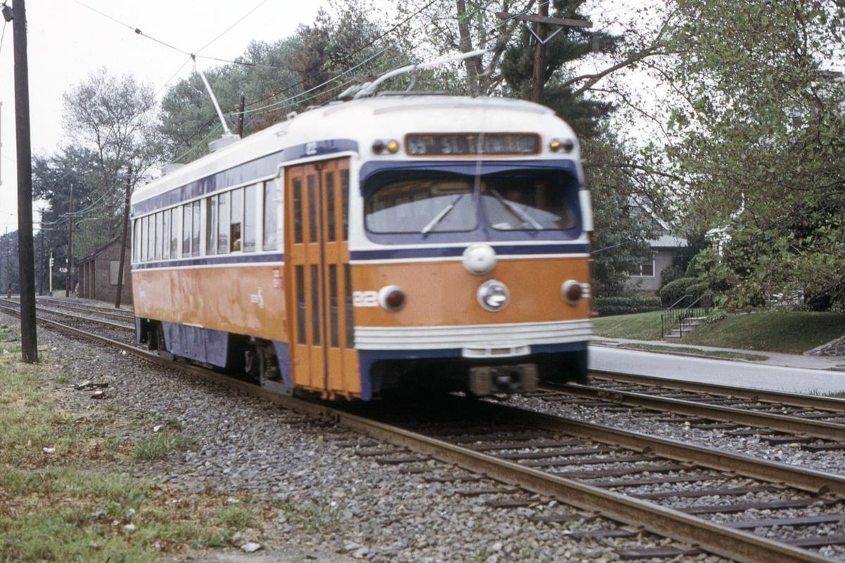 (608k, 1200x800)<br><b>Country:</b> United States<br><b>City:</b> Philadelphia, PA<br><b>System:</b> SEPTA (or Predecessor)<br><b>Line:</b> Rt. 102-Sharon Hill<br><b>Car:</b> PSTC Streamliner (St. Louis Car Co., 1949) 22 <br><b>Collection of:</b> David Pirmann<br><b>Date:</b> 9/27/1973<br><b>Viewed (this week/total):</b> 0 / 50