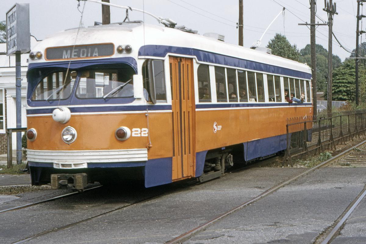 (493k, 1200x800)<br><b>Country:</b> United States<br><b>City:</b> Philadelphia, PA<br><b>System:</b> SEPTA (or Predecessor)<br><b>Line:</b> Rt. 102-Sharon Hill<br><b>Car:</b> PSTC Streamliner (St. Louis Car Co., 1949) 22 <br><b>Collection of:</b> David Pirmann<br><b>Date:</b> 10/10/1973<br><b>Viewed (this week/total):</b> 1 / 43