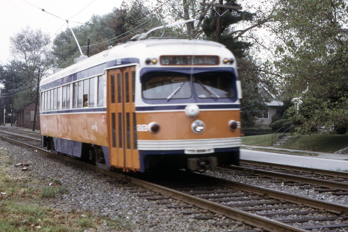 (566k, 1200x800)<br><b>Country:</b> United States<br><b>City:</b> Philadelphia, PA<br><b>System:</b> SEPTA (or Predecessor)<br><b>Line:</b> Rt. 102-Sharon Hill<br><b>Car:</b> PSTC Streamliner (St. Louis Car Co., 1949) 22 <br><b>Collection of:</b> David Pirmann<br><b>Date:</b> 9/27/1973<br><b>Viewed (this week/total):</b> 0 / 56
