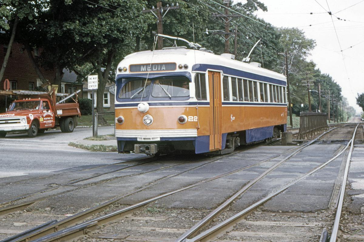 (592k, 1200x800)<br><b>Country:</b> United States<br><b>City:</b> Philadelphia, PA<br><b>System:</b> SEPTA (or Predecessor)<br><b>Line:</b> Rt. 101-Media/102-Sharon Hill<br><b>Location:</b> Drexel Hill Junction<br><b>Car:</b> PSTC Streamliner (St. Louis Car Co., 1949) 22 <br><b>Collection of:</b> David Pirmann<br><b>Date:</b> 9/27/1973<br><b>Viewed (this week/total):</b> 1 / 54
