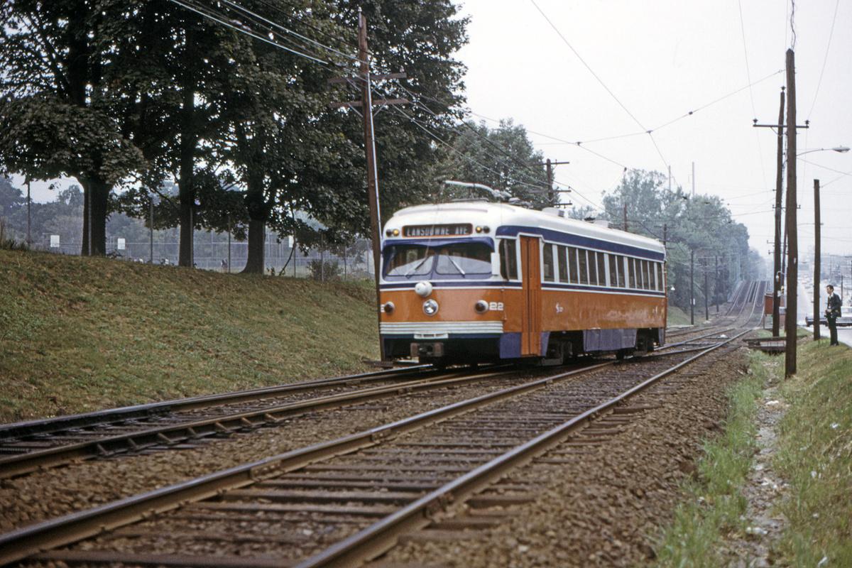 (582k, 1200x800)<br><b>Country:</b> United States<br><b>City:</b> Philadelphia, PA<br><b>System:</b> SEPTA (or Predecessor)<br><b>Line:</b> Rt. 101-Media/102-Sharon Hill<br><b>Location:</b> N. of Lansdowne Ave.<br><b>Car:</b> PSTC Streamliner (St. Louis Car Co., 1949) 22 <br><b>Collection of:</b> David Pirmann<br><b>Date:</b> 9/27/1973<br><b>Viewed (this week/total):</b> 0 / 43