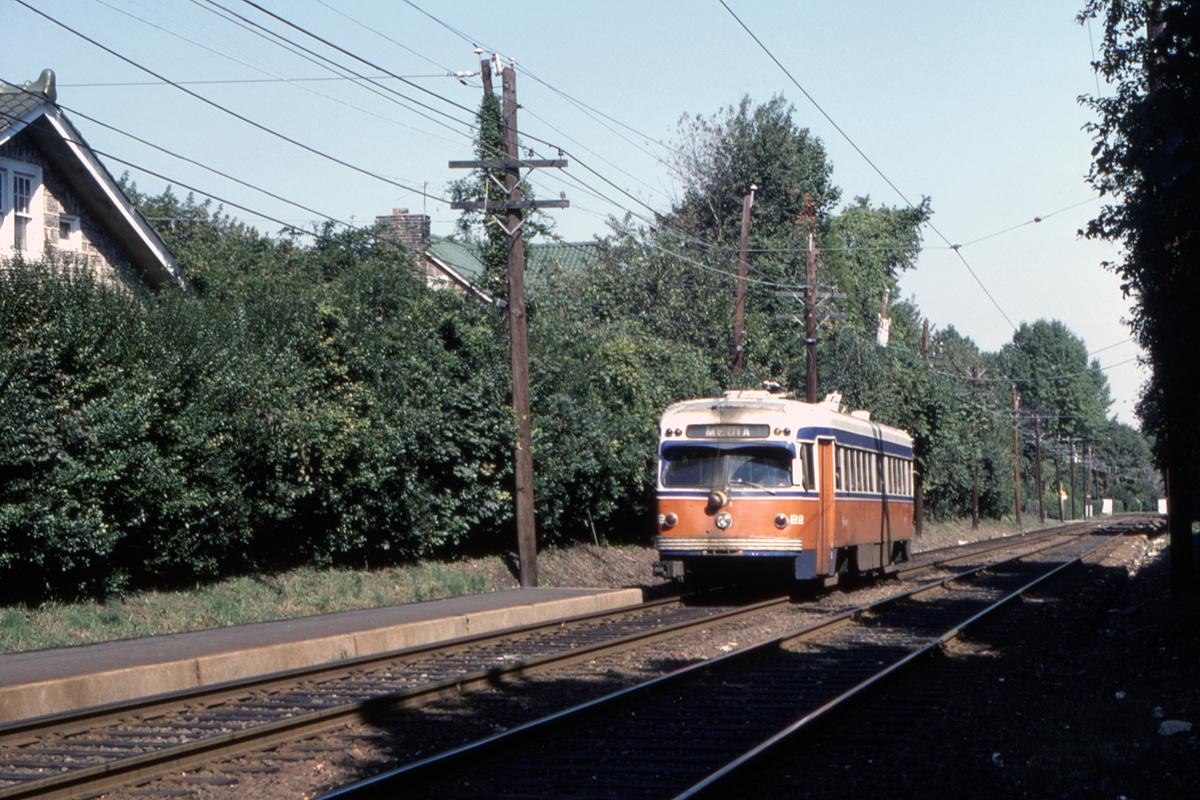 (583k, 1200x800)<br><b>Country:</b> United States<br><b>City:</b> Philadelphia, PA<br><b>System:</b> SEPTA (or Predecessor)<br><b>Line:</b> Rt. 101-Media/102-Sharon Hill<br><b>Location:</b> Drexel Park<br><b>Car:</b> PSTC Streamliner (St. Louis Car Co., 1949) 22 <br><b>Photo by:</b> Gerald H. Landau<br><b>Collection of:</b> David Pirmann<br><b>Viewed (this week/total):</b> 0 / 50