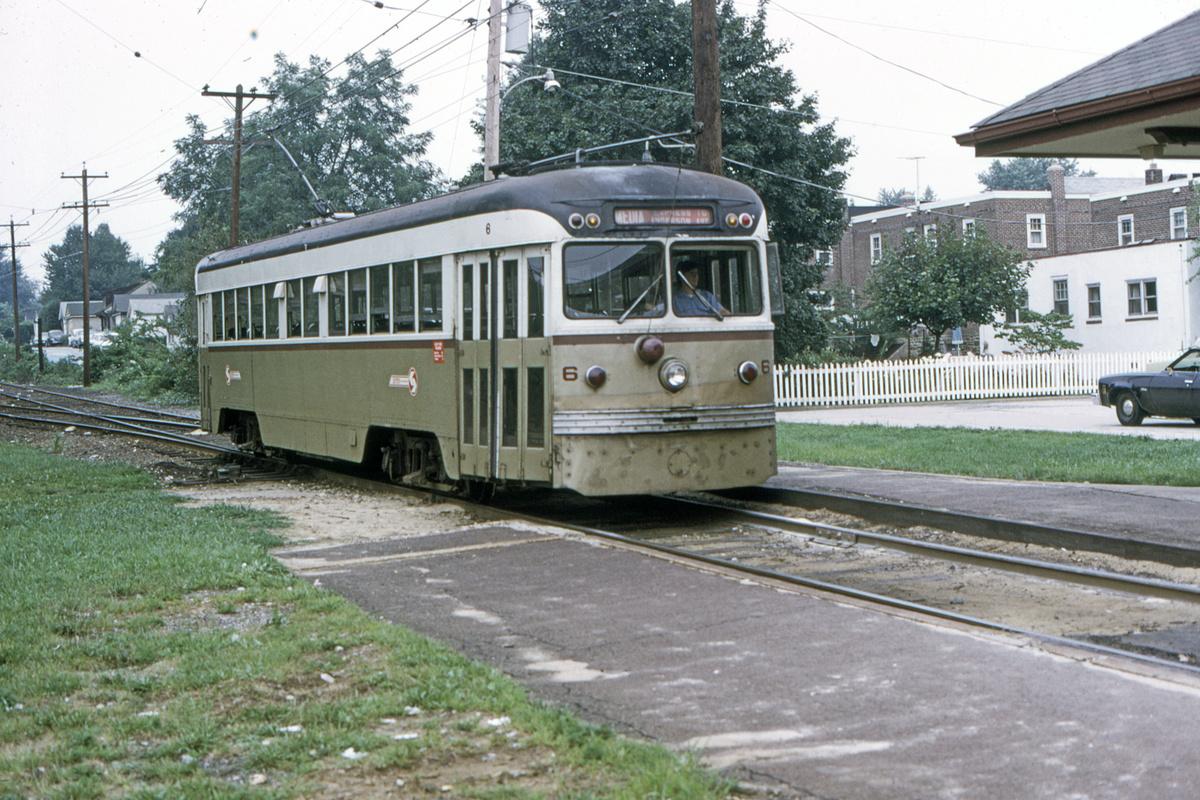 (574k, 1200x800)<br><b>Country:</b> United States<br><b>City:</b> Philadelphia, PA<br><b>System:</b> SEPTA (or Predecessor)<br><b>Line:</b> Rt. 101-Media<br><b>Location:</b> Woodland Avenue<br><b>Car:</b> PSTC Brilliner (J.G. Brill, 1941) 6 <br><b>Collection of:</b> David Pirmann<br><b>Date:</b> 8/1974<br><b>Viewed (this week/total):</b> 0 / 59
