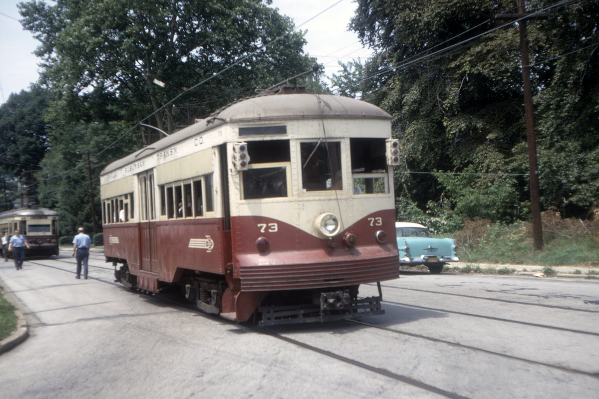 (482k, 1200x800)<br><b>Country:</b> United States<br><b>City:</b> Philadelphia, PA<br><b>System:</b> SEPTA (or Predecessor)<br><b>Line:</b> Rt. 102-Sharon Hill<br><b>Location:</b> Woodlawn Avenue<br><b>Car:</b> PSTC Center Entrance Interurban (J.G. Brill, 1926) 73 <br><b>Collection of:</b> David Pirmann<br><b>Date:</b> 7/1967<br><b>Viewed (this week/total):</b> 1 / 50