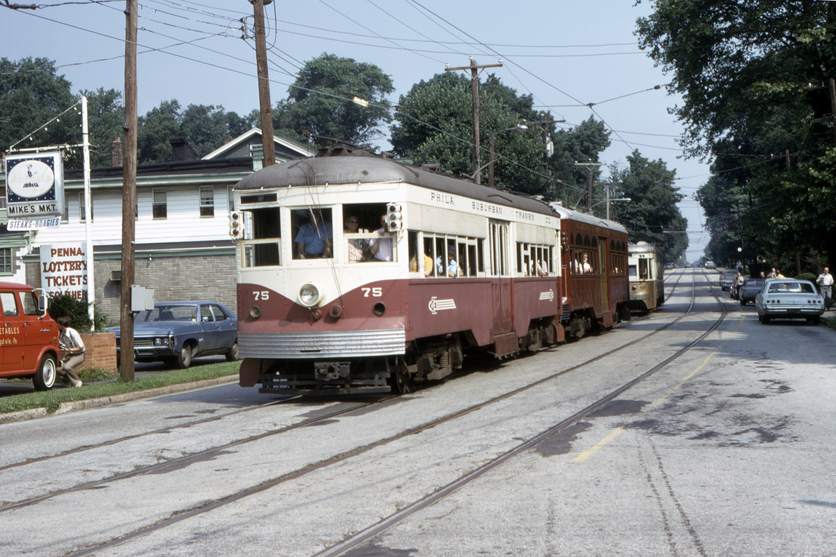 (577k, 1200x800)<br><b>Country:</b> United States<br><b>City:</b> Philadelphia, PA<br><b>System:</b> SEPTA (or Predecessor)<br><b>Line:</b> Rt. 102-Sharon Hill<br><b>Location:</b> North Street/Woodlawn Avenue<br><b>Car:</b> PSTC Center Entrance Interurban (J.G. Brill, 1926) 75 <br><b>Collection of:</b> David Pirmann<br><b>Date:</b> 7/1973<br><b>Viewed (this week/total):</b> 2 / 51