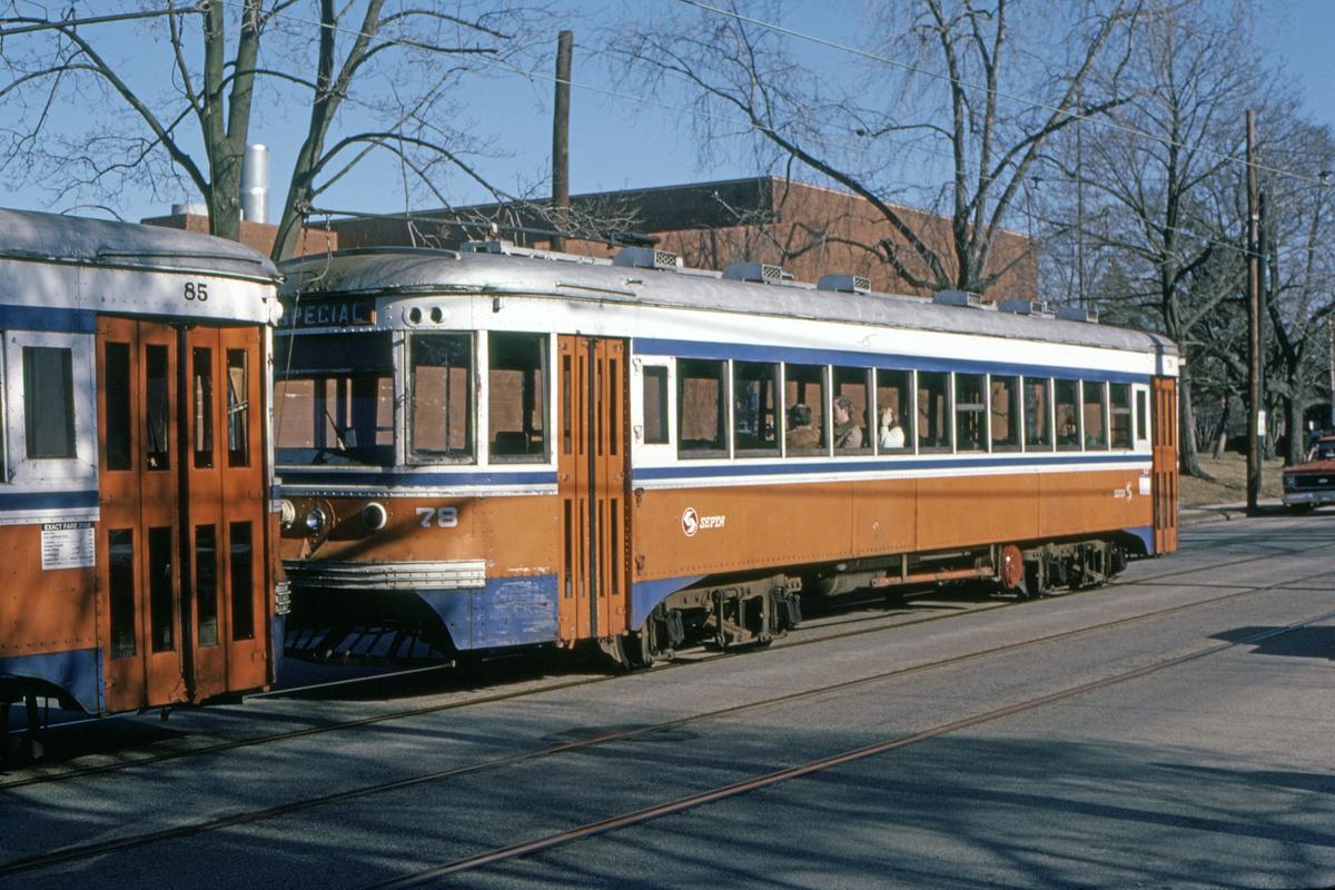(539k, 1200x800)<br><b>Country:</b> United States<br><b>City:</b> Philadelphia, PA<br><b>System:</b> SEPTA (or Predecessor)<br><b>Line:</b> Rt. 102-Sharon Hill<br><b>Location:</b> Woodlawn Avenue<br><b>Car:</b> PSTC Master Unit Suburban (J.G. Brill, 1932) 78 <br><b>Collection of:</b> David Pirmann<br><b>Date:</b> 9/1982<br><b>Viewed (this week/total):</b> 1 / 48
