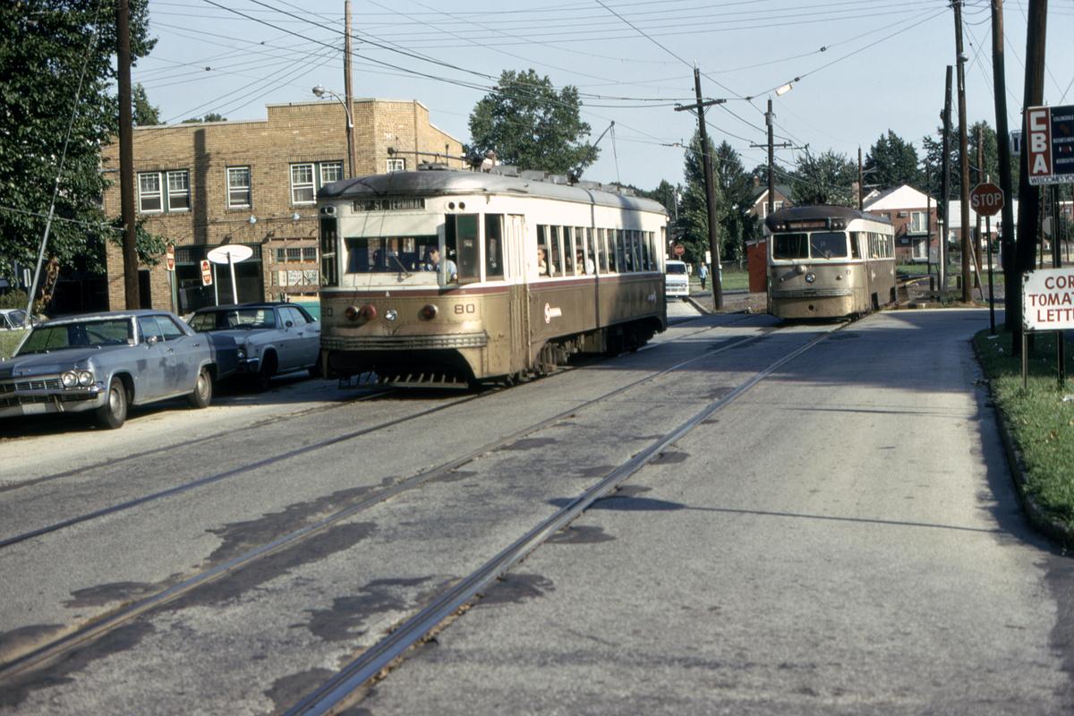 (496k, 1200x800)<br><b>Country:</b> United States<br><b>City:</b> Philadelphia, PA<br><b>System:</b> SEPTA (or Predecessor)<br><b>Line:</b> Rt. 102-Sharon Hill<br><b>Location:</b> Woodlawn Avenue<br><b>Car:</b> PSTC Master Unit Suburban (J.G. Brill, 1932) 80-8 <br><b>Collection of:</b> David Pirmann<br><b>Date:</b> 8/10/1975<br><b>Viewed (this week/total):</b> 0 / 51