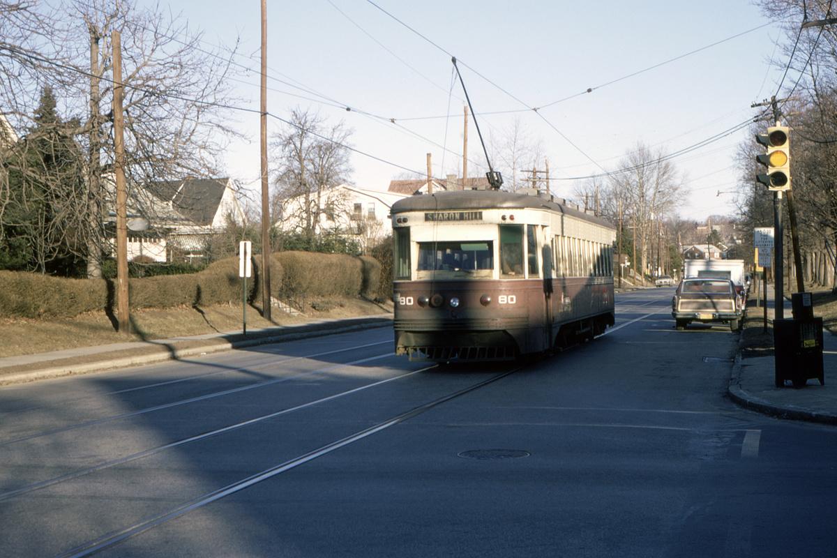 (474k, 1200x800)<br><b>Country:</b> United States<br><b>City:</b> Philadelphia, PA<br><b>System:</b> SEPTA (or Predecessor)<br><b>Line:</b> Rt. 102-Sharon Hill<br><b>Location:</b> Woodlawn Avenue<br><b>Car:</b> PSTC Master Unit Suburban (J.G. Brill, 1932) 80 <br><b>Collection of:</b> David Pirmann<br><b>Date:</b> 2/1970<br><b>Viewed (this week/total):</b> 0 / 50