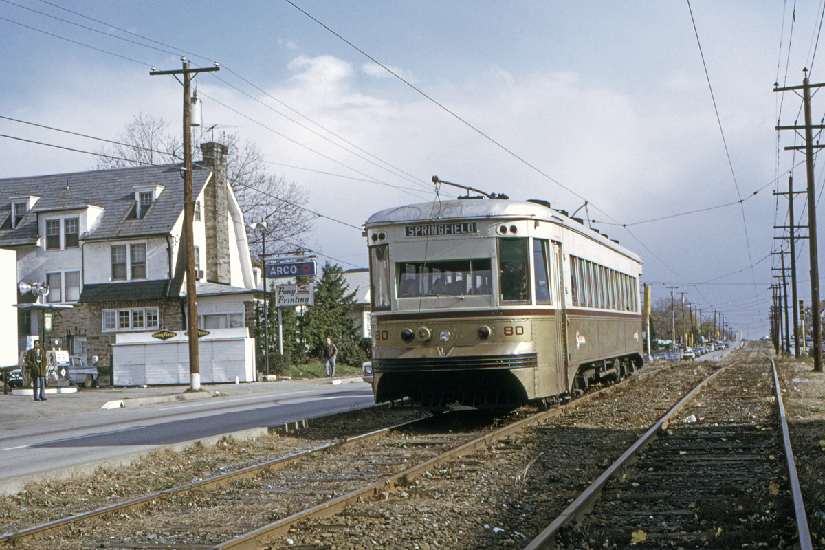 (563k, 1200x800)<br><b>Country:</b> United States<br><b>City:</b> Philadelphia, PA<br><b>System:</b> SEPTA (or Predecessor)<br><b>Line:</b> Rt. 103-Ardmore/Rt. 104-West Chester<br><b>Location:</b> West Chester Pike (103/104)<br><b>Car:</b> PSTC Master Unit Suburban (J.G. Brill, 1932) 80 <br><b>Collection of:</b> David Pirmann<br><b>Date:</b> 11/1971<br><b>Viewed (this week/total):</b> 2 / 55