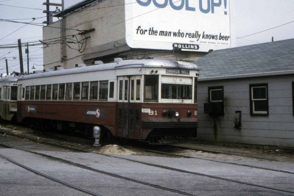(414k, 1200x800)<br><b>Country:</b> United States<br><b>City:</b> Philadelphia, PA<br><b>System:</b> SEPTA (or Predecessor)<br><b>Line:</b> Rt. 101-Media/102-Sharon Hill<br><b>Location:</b> 69th Street<br><b>Car:</b> PSTC Master Unit Suburban (J.G. Brill, 1932) 81 <br><b>Collection of:</b> David Pirmann<br><b>Date:</b> 7/1978<br><b>Viewed (this week/total):</b> 0 / 50