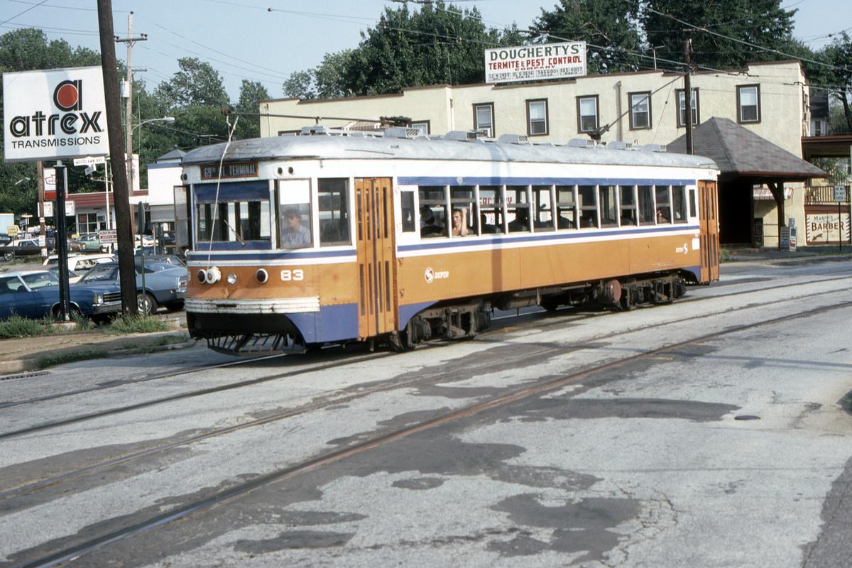 (519k, 1200x800)<br><b>Country:</b> United States<br><b>City:</b> Philadelphia, PA<br><b>System:</b> SEPTA (or Predecessor)<br><b>Line:</b> Rt. 102-Sharon Hill<br><b>Location:</b> Woodlawn Avenue<br><b>Car:</b> PSTC Master Unit Suburban (J.G. Brill, 1932) 83 <br><b>Collection of:</b> David Pirmann<br><b>Date:</b> 8/1980<br><b>Viewed (this week/total):</b> 1 / 59
