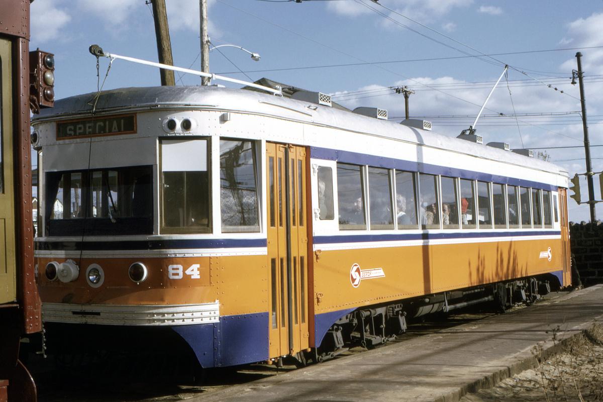 (434k, 1200x800)<br><b>Country:</b> United States<br><b>City:</b> Philadelphia, PA<br><b>System:</b> SEPTA (or Predecessor)<br><b>Line:</b> Rt. 102-Sharon Hill<br><b>Location:</b> Sharon Hill/Chester Pike<br><b>Car:</b> PSTC Master Unit Suburban (J.G. Brill, 1932) 84 <br><b>Collection of:</b> David Pirmann<br><b>Date:</b> 1/1974<br><b>Viewed (this week/total):</b> 3 / 52