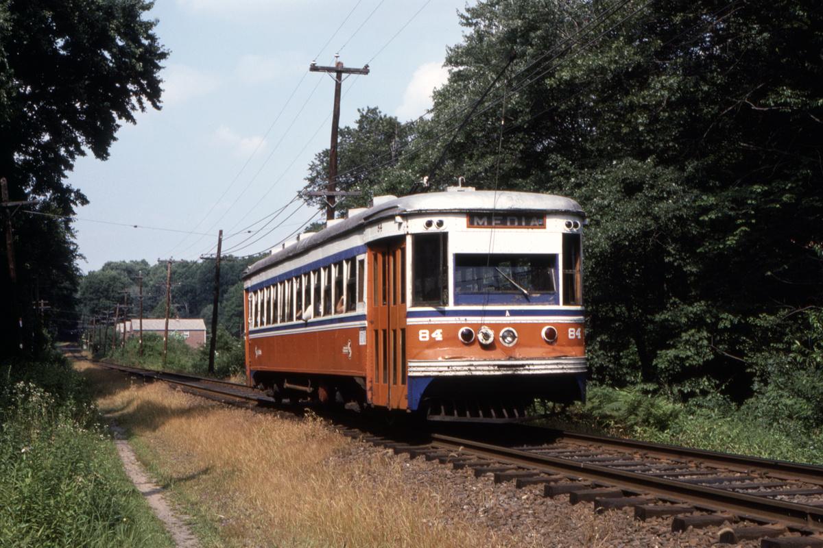 (539k, 1200x800)<br><b>Country:</b> United States<br><b>City:</b> Philadelphia, PA<br><b>System:</b> SEPTA (or Predecessor)<br><b>Line:</b> Rt. 102-Sharon Hill<br><b>Car:</b> PSTC Master Unit Suburban (J.G. Brill, 1932) 84 <br><b>Collection of:</b> David Pirmann<br><b>Date:</b> 10/1982<br><b>Viewed (this week/total):</b> 2 / 49