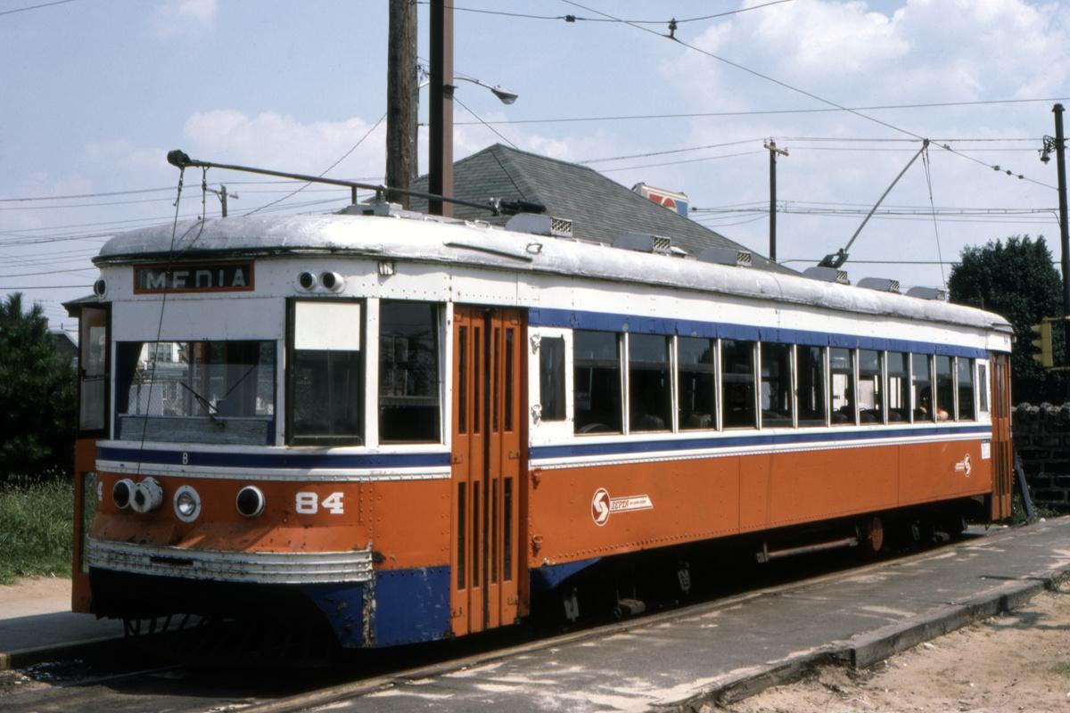 (401k, 1200x800)<br><b>Country:</b> United States<br><b>City:</b> Philadelphia, PA<br><b>System:</b> SEPTA (or Predecessor)<br><b>Line:</b> Rt. 102-Sharon Hill<br><b>Location:</b> Sharon Hill/Chester Pike<br><b>Car:</b> PSTC Master Unit Suburban (J.G. Brill, 1932) 84 <br><b>Collection of:</b> David Pirmann<br><b>Date:</b> 10/1982<br><b>Viewed (this week/total):</b> 1 / 63