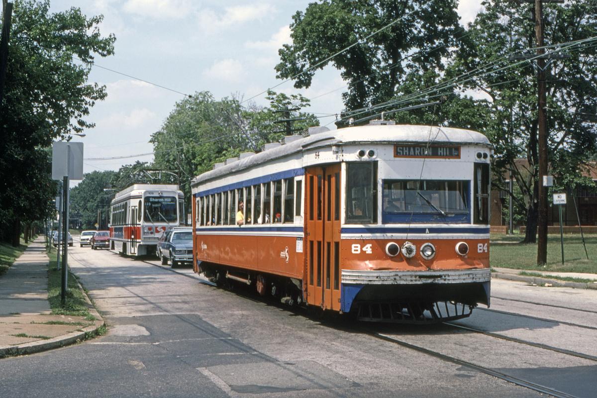 (618k, 1200x800)<br><b>Country:</b> United States<br><b>City:</b> Philadelphia, PA<br><b>System:</b> SEPTA (or Predecessor)<br><b>Line:</b> Rt. 102-Sharon Hill<br><b>Location:</b> Woodlawn Avenue<br><b>Car:</b> PSTC Master Unit Suburban (J.G. Brill, 1932) 84 <br><b>Collection of:</b> David Pirmann<br><b>Date:</b> 10/1982<br><b>Viewed (this week/total):</b> 1 / 49