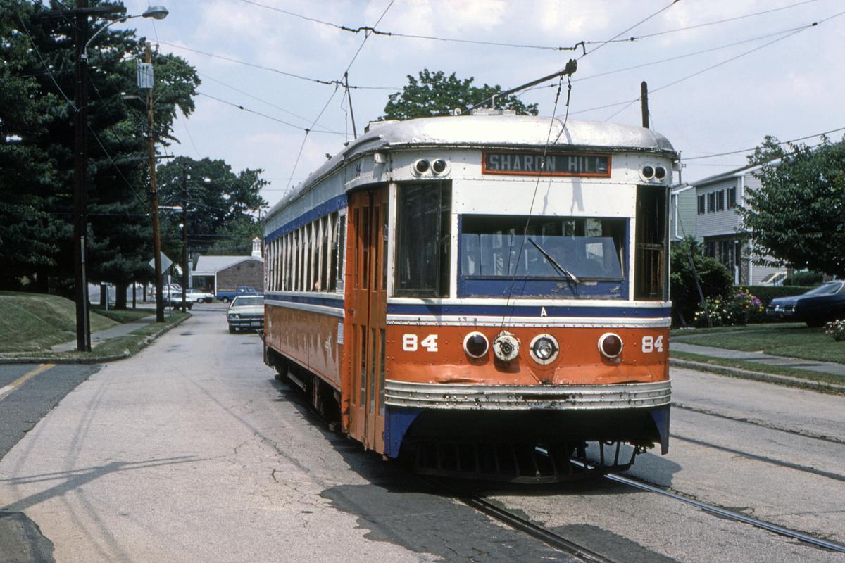 (506k, 1200x800)<br><b>Country:</b> United States<br><b>City:</b> Philadelphia, PA<br><b>System:</b> SEPTA (or Predecessor)<br><b>Line:</b> Rt. 102-Sharon Hill<br><b>Location:</b> Woodlawn Avenue<br><b>Car:</b> PSTC Master Unit Suburban (J.G. Brill, 1932) 84 <br><b>Collection of:</b> David Pirmann<br><b>Date:</b> 10/1982<br><b>Viewed (this week/total):</b> 1 / 45
