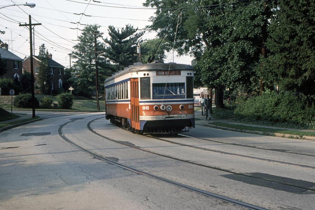 (571k, 1200x800)<br><b>Country:</b> United States<br><b>City:</b> Philadelphia, PA<br><b>System:</b> SEPTA (or Predecessor)<br><b>Line:</b> Rt. 102-Sharon Hill<br><b>Location:</b> Woodlawn Avenue<br><b>Car:</b> PSTC Master Unit Suburban (J.G. Brill, 1932) 86 <br><b>Collection of:</b> David Pirmann<br><b>Date:</b> 8/1980<br><b>Viewed (this week/total):</b> 2 / 47