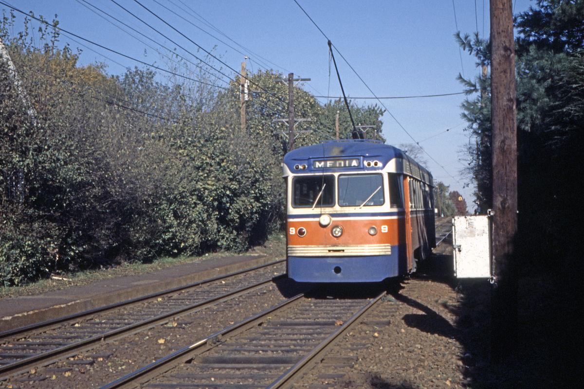 (649k, 1200x800)<br><b>Country:</b> United States<br><b>City:</b> Philadelphia, PA<br><b>System:</b> SEPTA (or Predecessor)<br><b>Line:</b> Rt. 101-Media<br><b>Location:</b> Anderson Avenue<br><b>Car:</b> PSTC Brilliner (J.G. Brill, 1941) 9 <br><b>Collection of:</b> David Pirmann<br><b>Date:</b> 2/1977<br><b>Viewed (this week/total):</b> 0 / 51