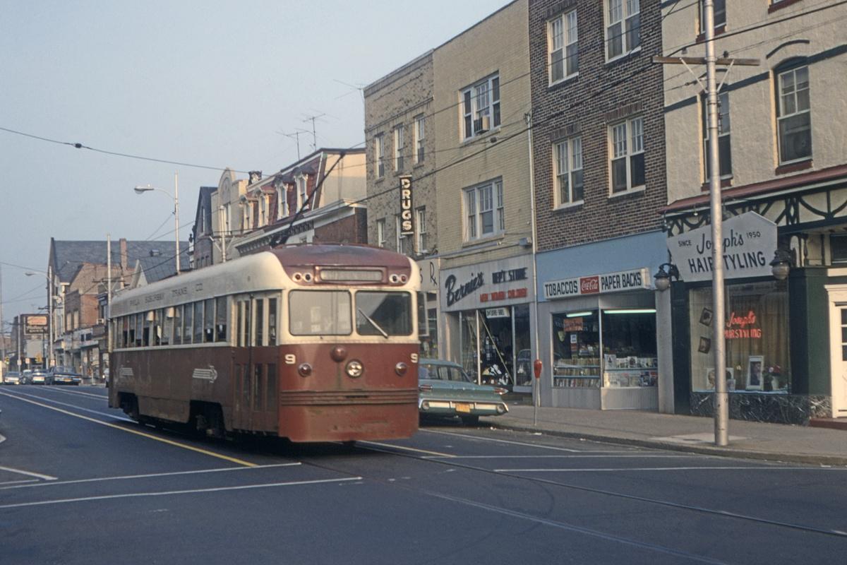 (416k, 1200x800)<br><b>Country:</b> United States<br><b>City:</b> Philadelphia, PA<br><b>System:</b> SEPTA (or Predecessor)<br><b>Line:</b> Rt. 101-Media<br><b>Location:</b> Orange Street/State Street<br><b>Car:</b> PSTC Brilliner (J.G. Brill, 1941) 9 <br><b>Collection of:</b> David Pirmann<br><b>Date:</b> 7/1967<br><b>Viewed (this week/total):</b> 3 / 72
