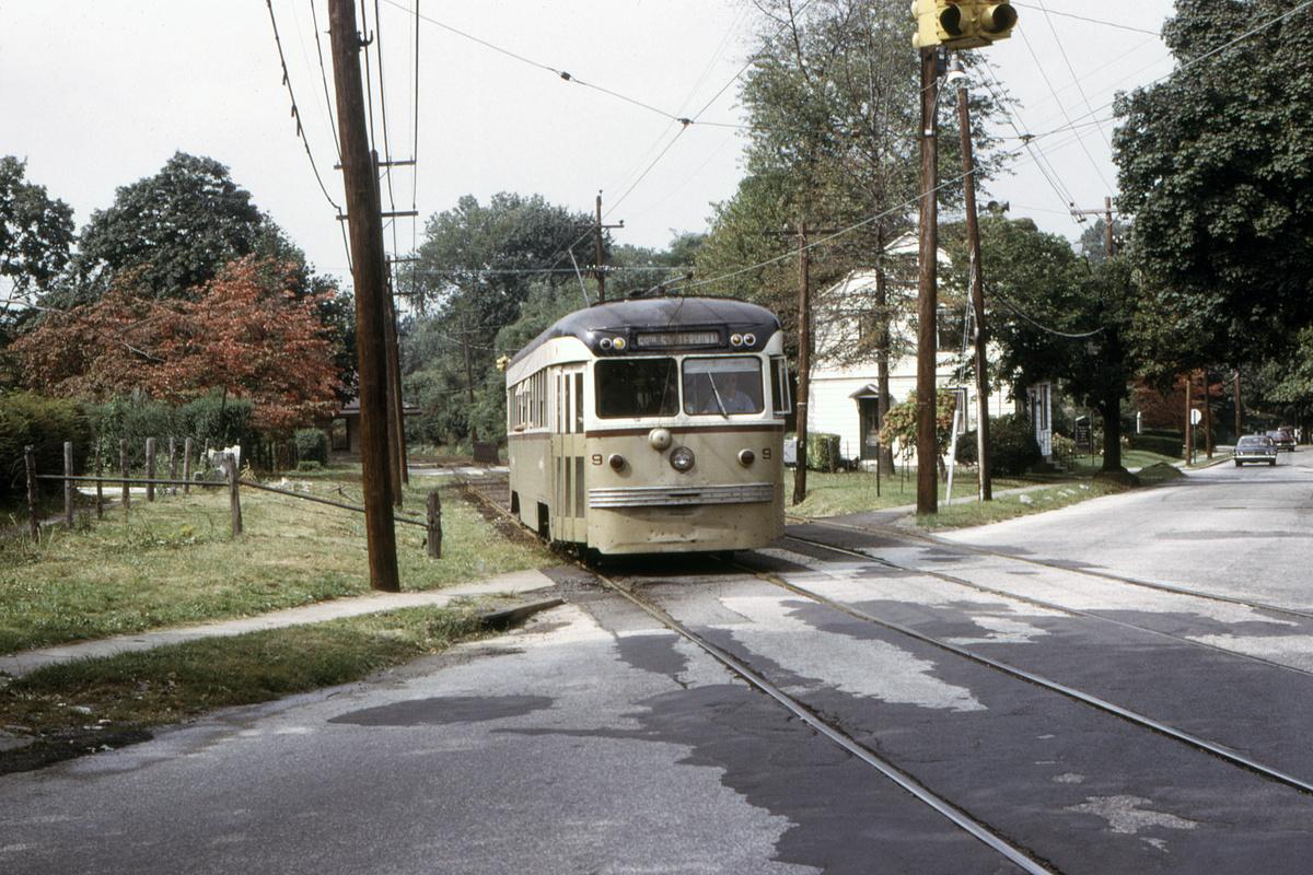 (611k, 1200x800)<br><b>Country:</b> United States<br><b>City:</b> Philadelphia, PA<br><b>System:</b> SEPTA (or Predecessor)<br><b>Line:</b> Rt. 102-Sharon Hill<br><b>Car:</b> PSTC Brilliner (J.G. Brill, 1941) 9 <br><b>Collection of:</b> David Pirmann<br><b>Date:</b> 9/27/1973<br><b>Viewed (this week/total):</b> 0 / 50