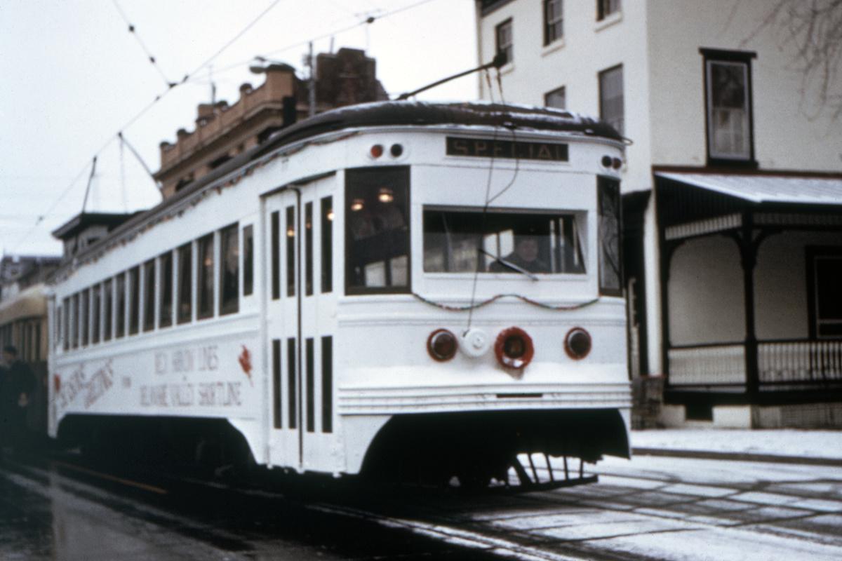 (313k, 1200x800)<br><b>Country:</b> United States<br><b>City:</b> Philadelphia, PA<br><b>System:</b> SEPTA (or Predecessor)<br><b>Line:</b> Rt. 101-Media<br><b>Location:</b> Orange Street/State Street<br><b>Car:</b> PSTC Master Unit Suburban (J.G. Brill, 1932)  <br><b>Collection of:</b> David Pirmann<br><b>Date:</b> 12/1974<br><b>Viewed (this week/total):</b> 0 / 51